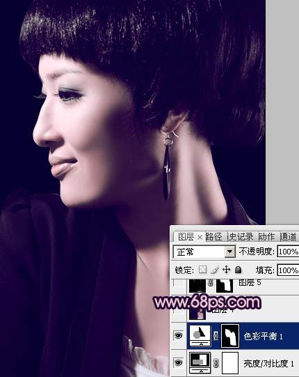 Photoshop调出暗紫色高贵女性头像照片