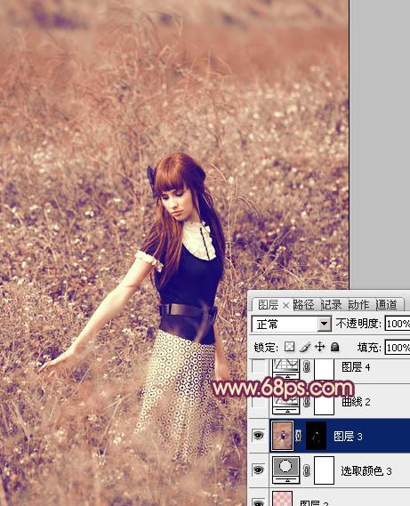 Photoshop调出粉褐色野花丛中的户外写真照片