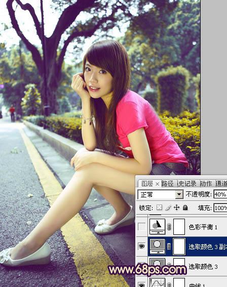 Photoshop调出色彩反差的路边女孩照片