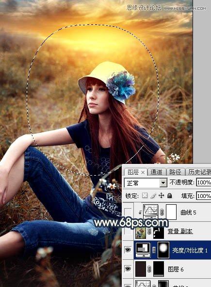 Photoshop调出金色夕阳美景效果的外景女孩