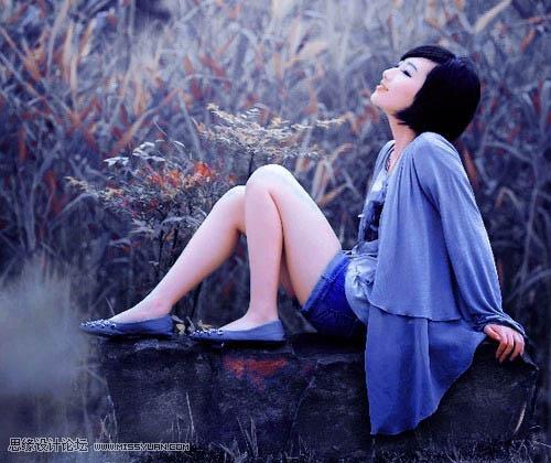 Photoshop调色暗夜蓝色梦幻人物外景图片处理
