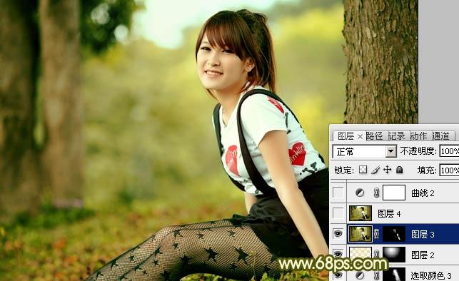 Photoshop黄绿色甜美树林女孩照片美化处理