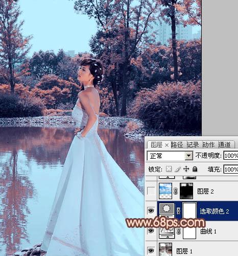 Photoshop调出红褐色秋天背景的婚纱照片教程