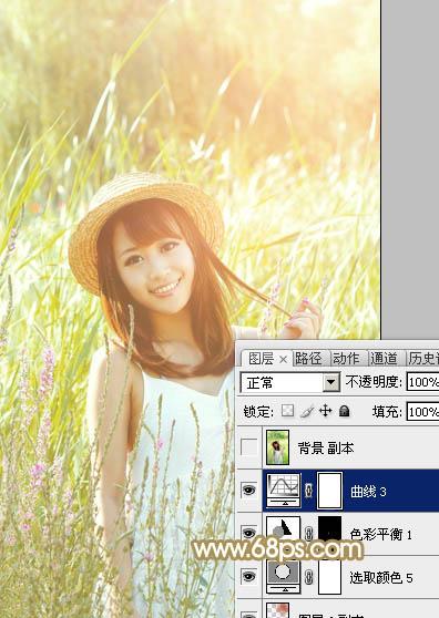 Photoshop调出黄褐色草丛中女孩照片教程