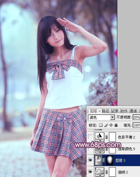 Photoshop紫蓝色学生装美女照片调色处理教程