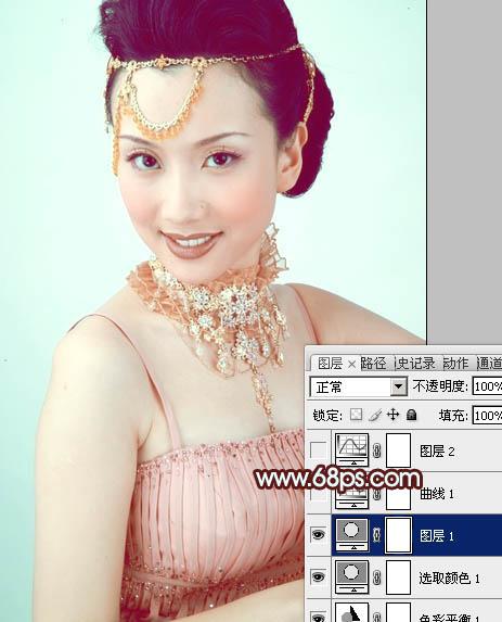 使用PS修图修出淡青色妩媚女性写真图片