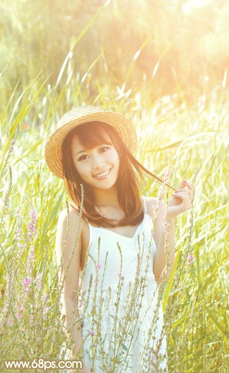 PS调色调出黄褐色草丛中女孩照片处理教程