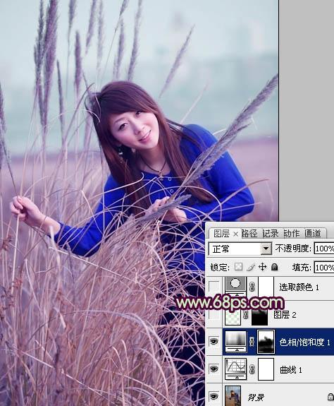 Photoshop给麦田中的小清新女孩照片调色处理