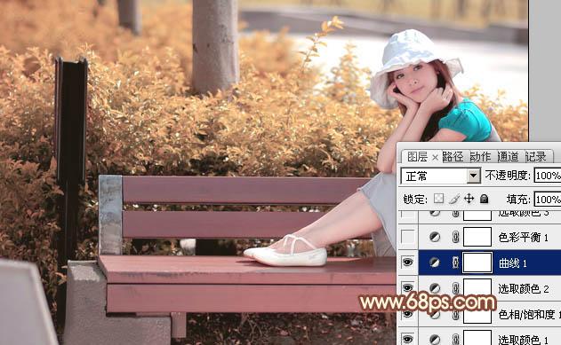 PS调色调出红褐色公园长椅上的清纯女孩照片