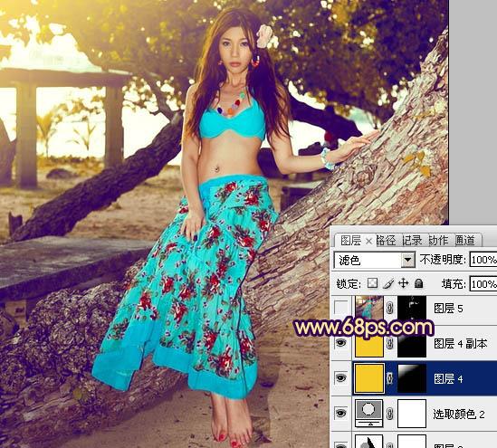 Photoshop调出暗调金黄色的沙滩清凉美女图片