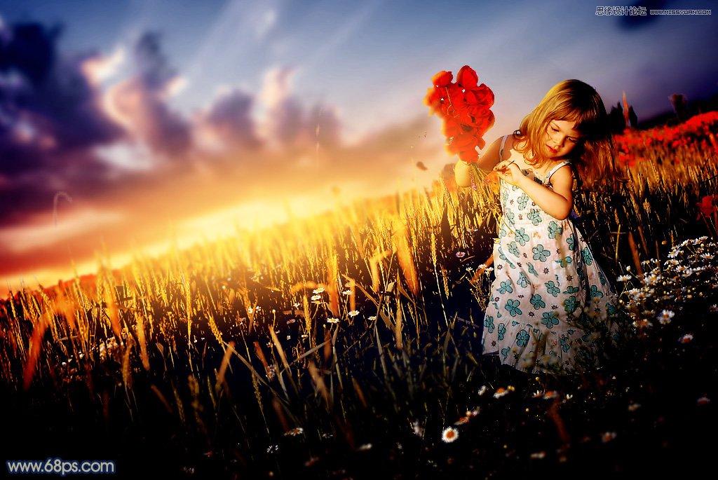Photoshop调出黄昏唯美景色的外景儿童照片