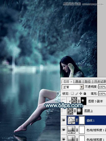 Photoshop调出唯美蓝色效果的外景河边人像