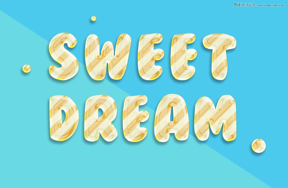 Photoshop设计糖果风格的3D艺术字特效教程
