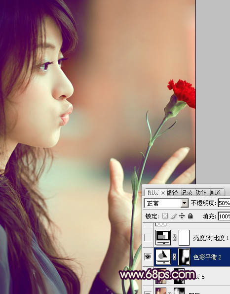 Photoshop调出温馨浪漫色彩的艺术人物照片