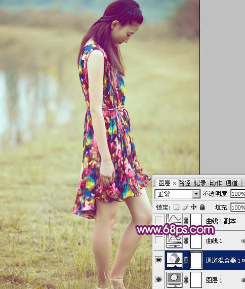 Photoshop调出暗调紫光色彩的女孩照片教程