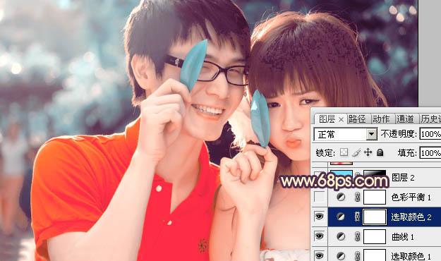 Photoshop调出橙红色的俏皮可爱情侣照片