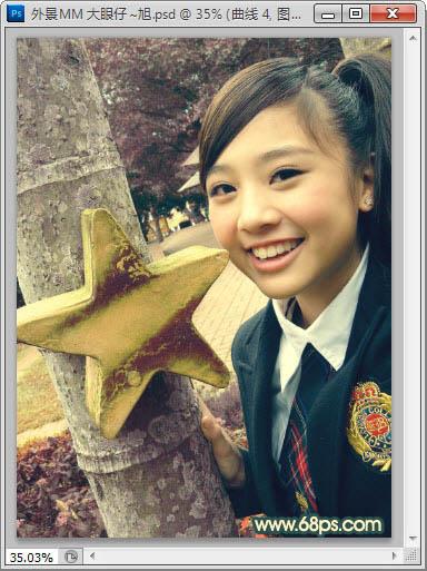 Photoshop调出明亮的怀旧学生装女孩照片