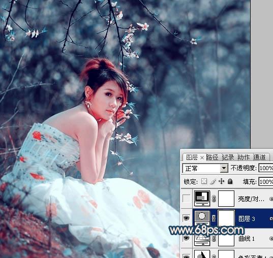 Photoshop制作暗青色外景女孩婚纱照片调色教程