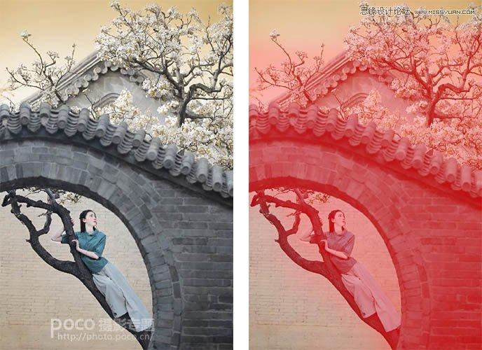 Photoshop制作唯美中国风效果的园林女孩照片