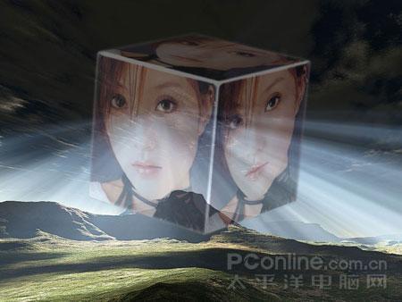 Photoshop滤镜制作空中旋转的3D魔方照片
