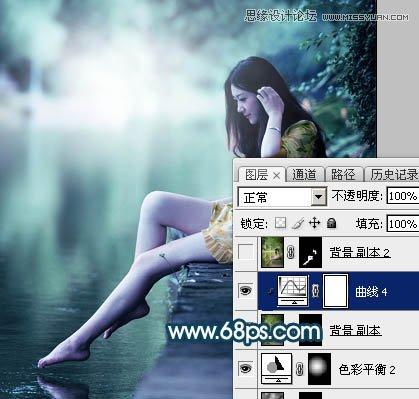Photoshop调色调出唯美蓝色艺术效果的河边女孩照片
