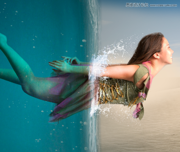Photoshop合成人像海底穿越的唯美场景效果