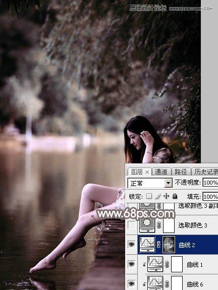 Photoshop调出红褐色艺术效果的河边女孩