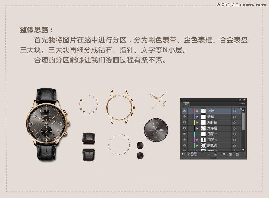 Illustrator绘制逼真的手表效果图
