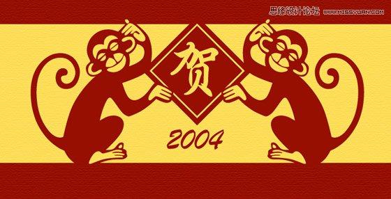 Illustrator设计红色风格的猴年贺卡教程
