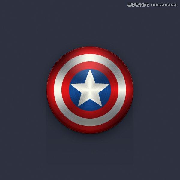Illustrator绘制逼真的美国队长盾牌图标