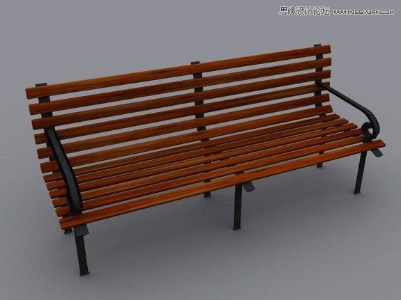 3ds max创建逼真的公园长椅教程