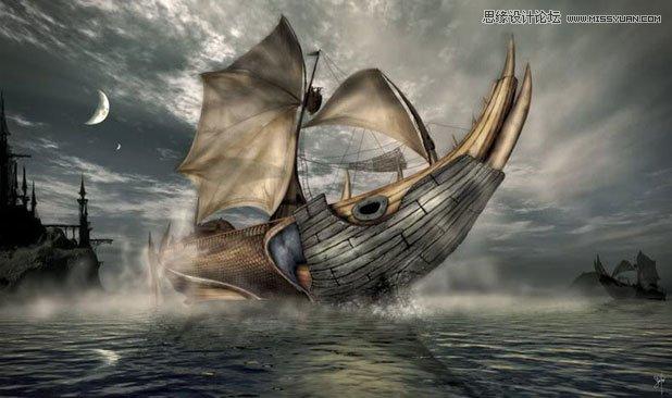 3DMAX制作在大海中航行的帆船