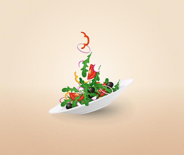 Illustrator制作唯美多彩蔬菜沙拉盘