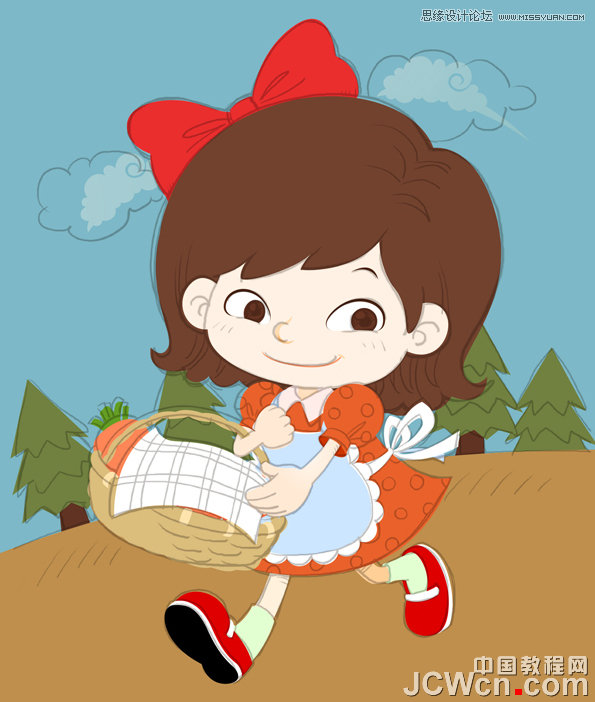 Illustrator制作可爱时尚的卡通小女孩