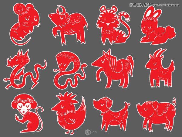 Illustrator绘制中国风的十二生肖图像教程