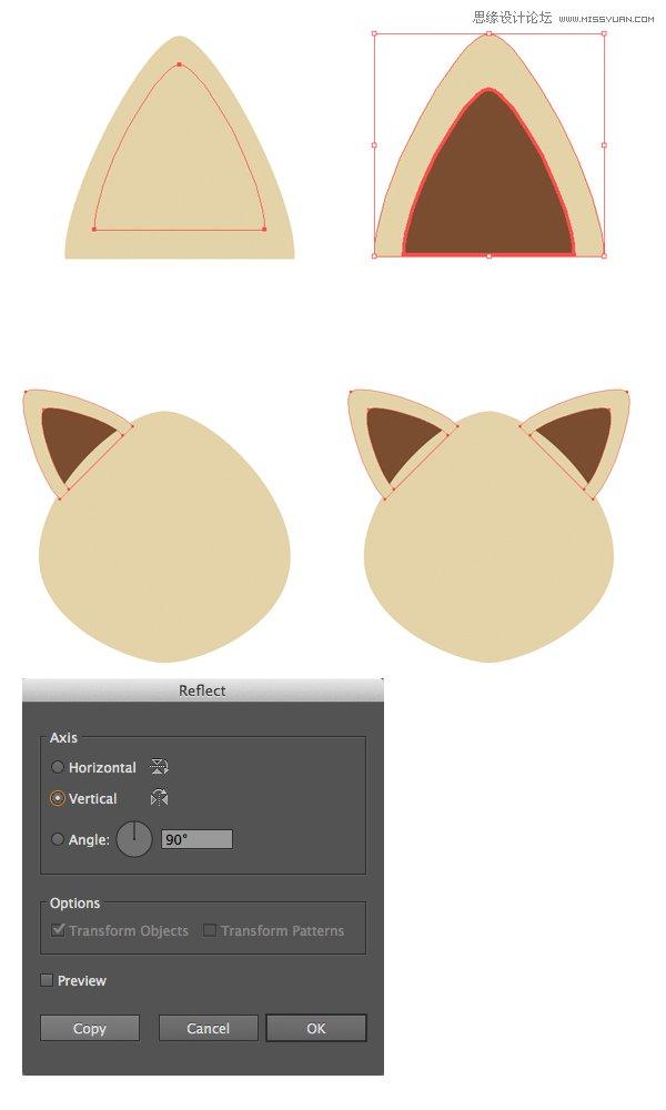 Illustrator绘制扁平化风格的卡通动物肖像