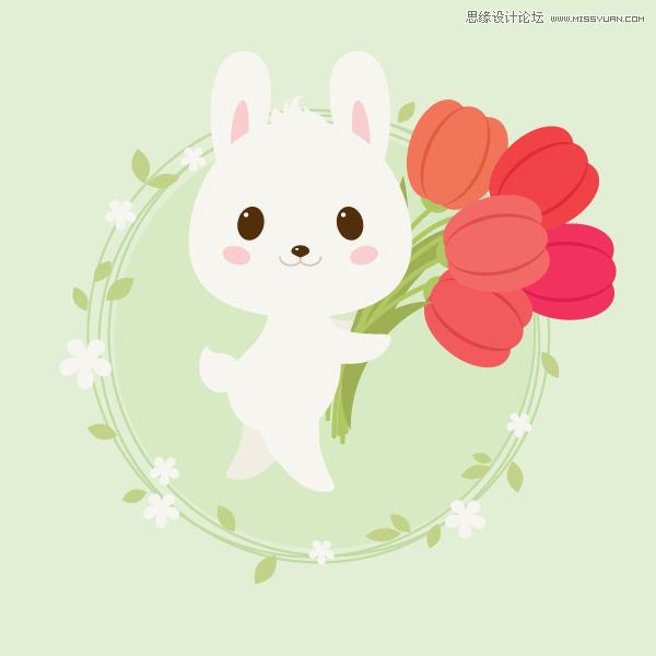 Illustrator绘制春季抱着花朵的小兔子