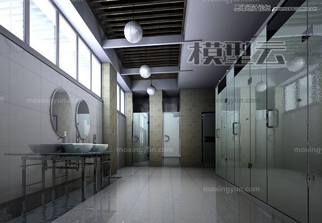 3DMAX灯光阵列光能传递渲染玻璃卫生间教程