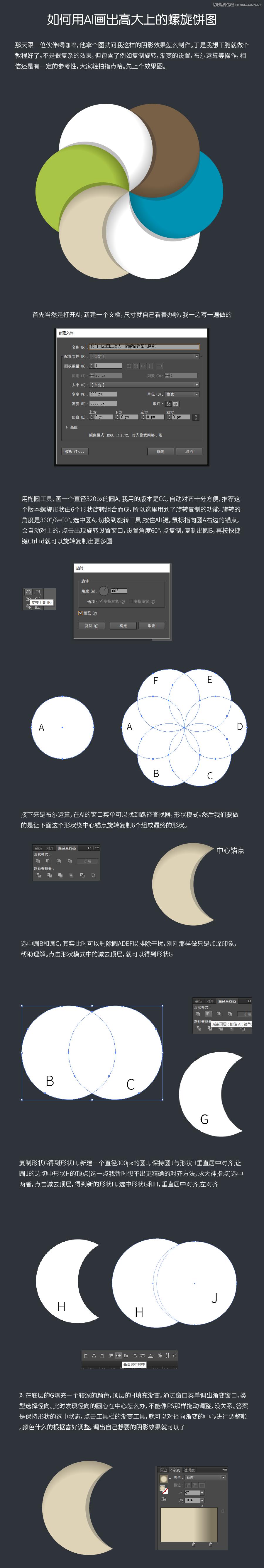 Illustrator绘制高大上的螺旋饼图效果