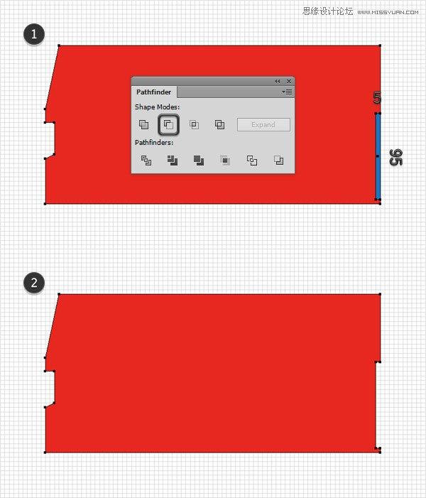 Illustrator绘制细节丰富的红色大巴车图标