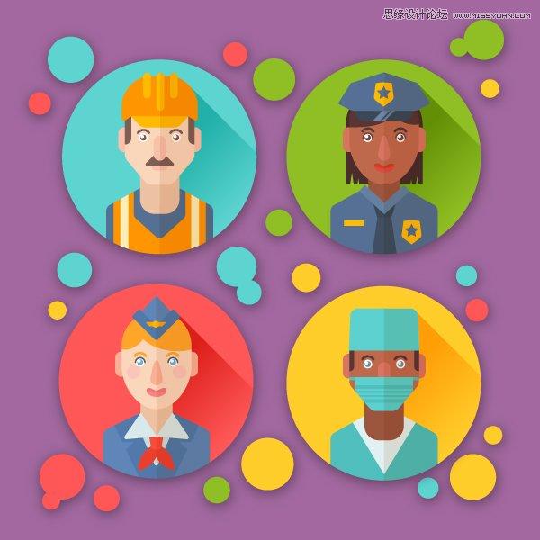 Illustrator设计扁平化风格的职业角色图像