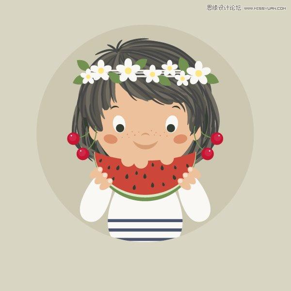 Illustrator绘制卡通风格的吃西瓜女孩教程