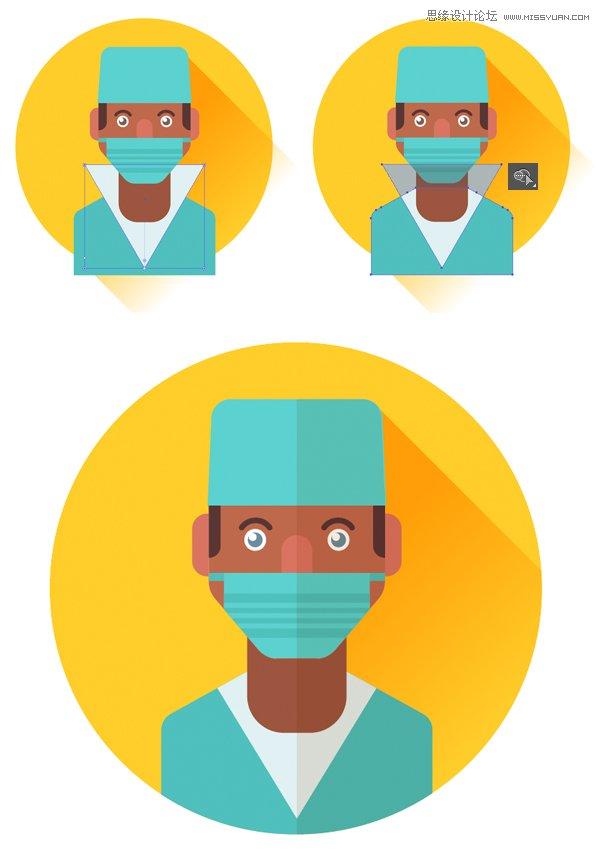 Illustrator绘制扁平化风格的外科医生头像