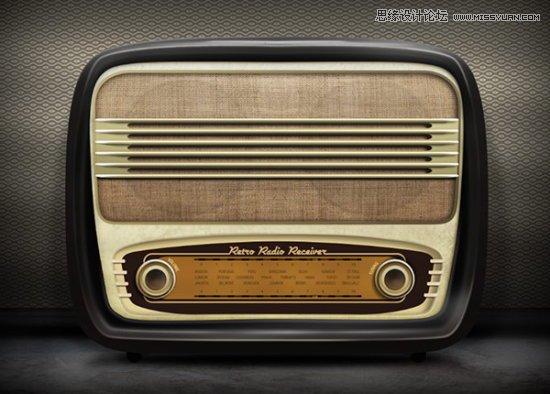 Photoshop结合AI制作逼真的复古收音机
