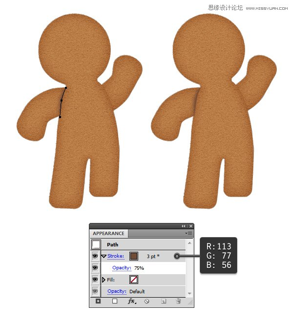 Illustrator绘制立体风格的饼干小人教程
