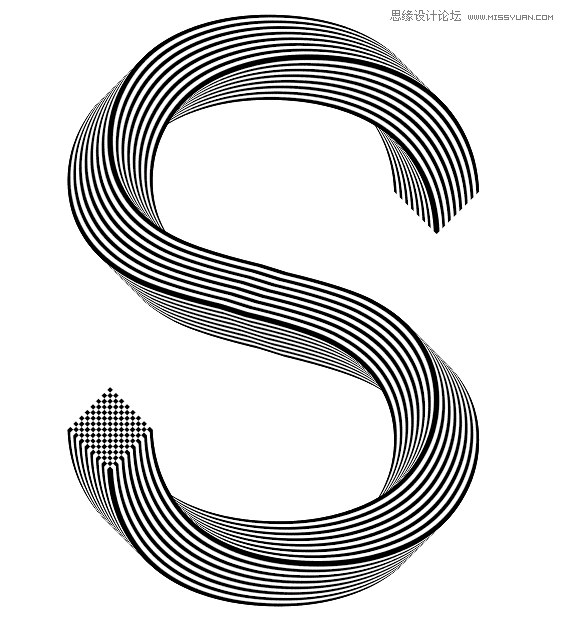 Illustrator绘制超酷立体风格的线条文字