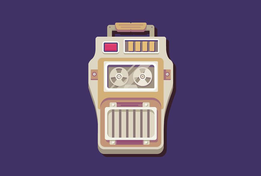 Illustrator制作矢量风格的磁盘播放器