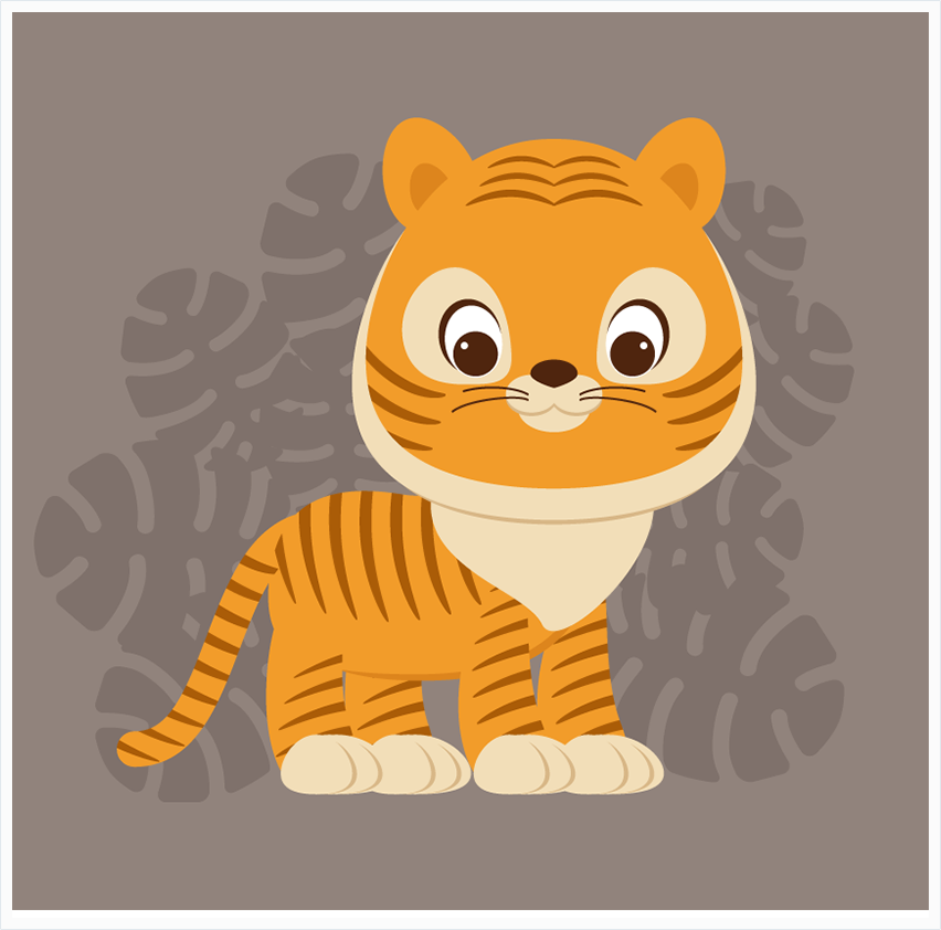 Illustrator绘制卡通可爱的小老虎插图