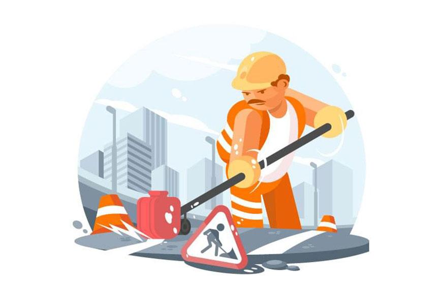Illustrator绘制马路上正在施工的Q版工人