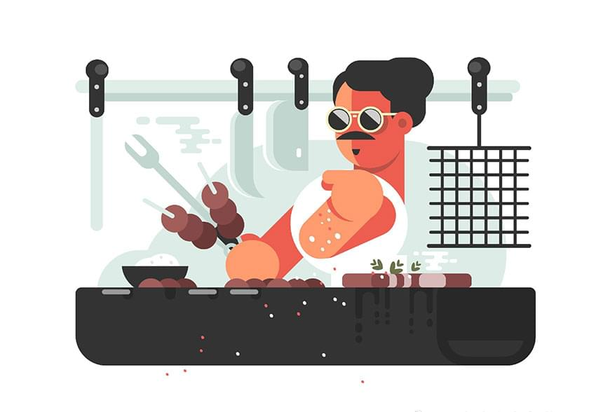 使用Illustrator绘制插画主题的搞怪烤串大叔